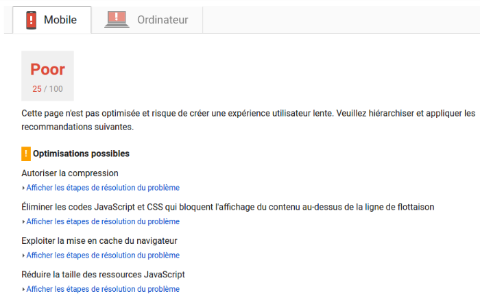 Pagespeed Insights page désastreuse